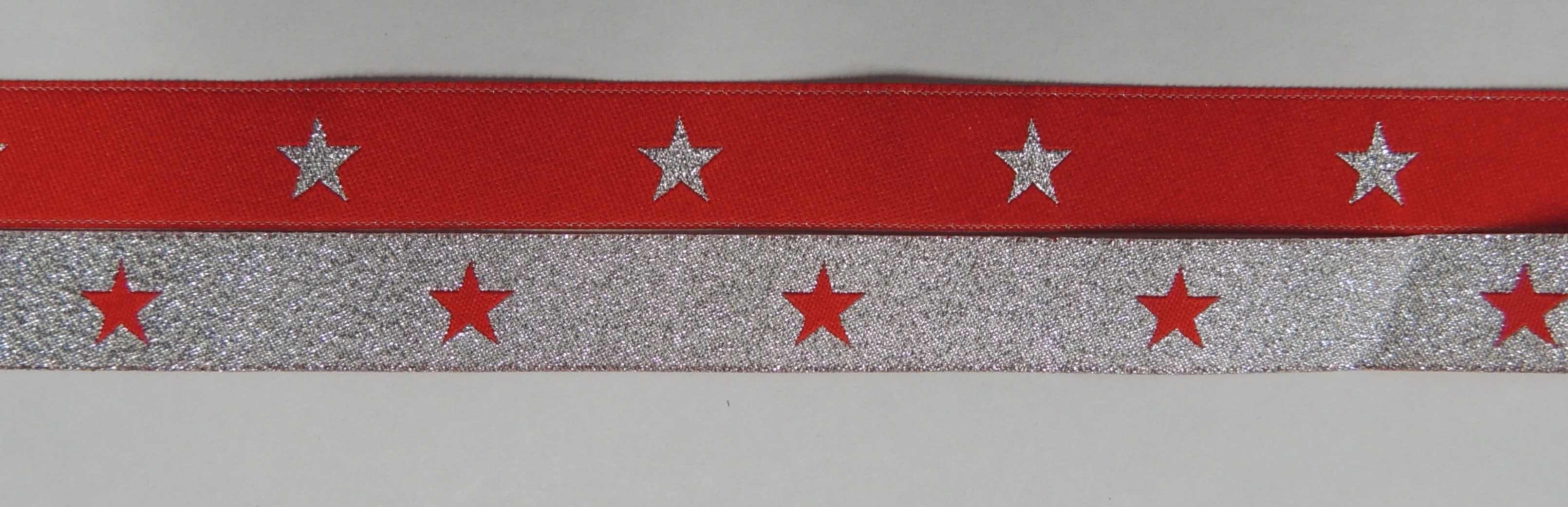 Red with Metallic Silver stars/ Metallic Silver with Red stars