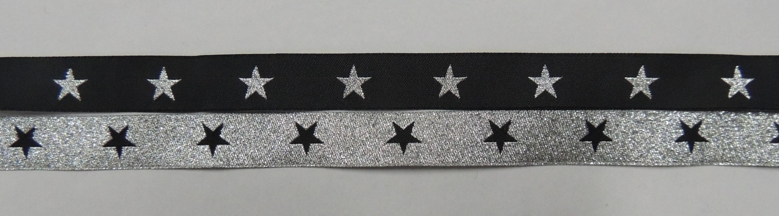 Black with Metallic Silver stars/ Metallic Silver with Black Stars