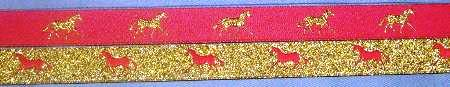 Hot Pink with Metallic Gold horse / Metallic Gold with Hot Pink horse