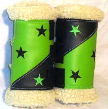 Sherpa/Vinyl Boots : Lime/Black with Stars