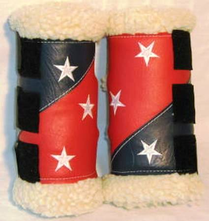 Sherpa/Vinyl Boots: NAVY/RED with Stars